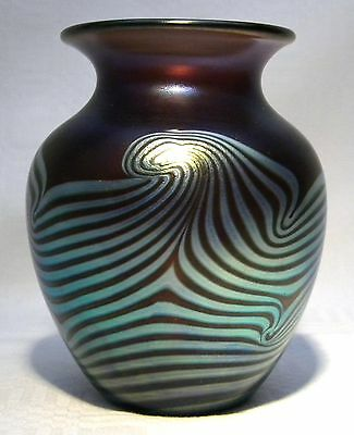 Okra Glass  Founder Member Guild Feather  Vase