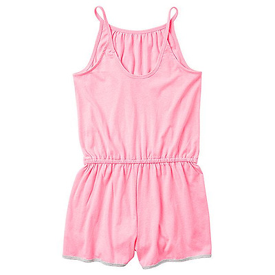 Target Girls 8 Pink Playsuit Soft Cotton Thin StrapsGrey Cotton Trim on Hemline