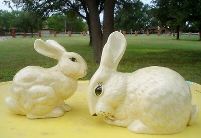 Vintage Antique White Ceramic Bunnies