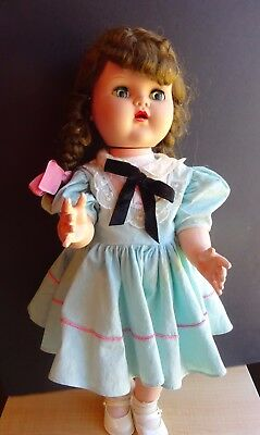 "Vintage Saucy Walker 18"" Doll - Unmarked Excellent Condition Big Blue Eyes"