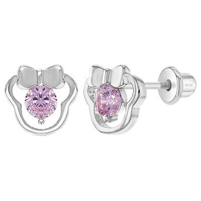 925 Sterling Silver Pink CZ Screw Back Open Mouse Small Earrings Toddlers Girls