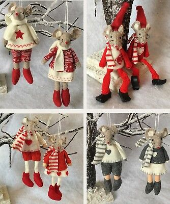 Pair Of Felt Mice Hanging Christmas Decorations Fabric Choose Red White Grey