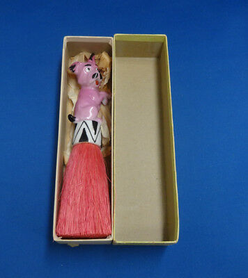 Vintage Porcelain Dog Half Doll  With Brush Germany in Box