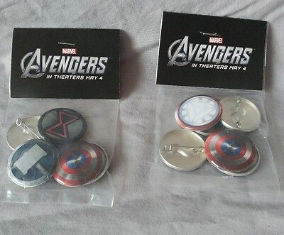 Marvel Avengers Promo 6 Pin Set - Theatre Exclusive 2012 - Lot of 2 sets