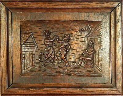 Amazing ca.1880 French Quimper Hand Carved Oak Wooden Bretons Panel/Plaque