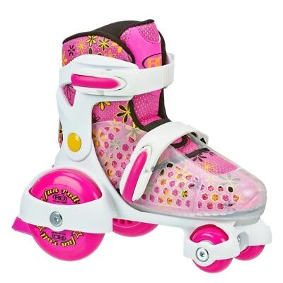 Roller Derby Kids/Girls Adjustable Roller/Quad- Fun Roll Small US J7-US J11 Pink