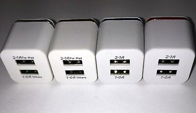 Lot of 50, 1A and 2.1A Dual USB, US Plug  Home Charger For iPhone