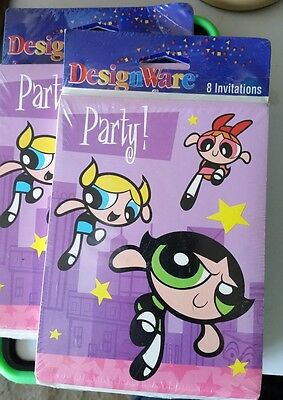 Lot 2002 POWERPUFF GIRLS 8 Party INVITATIONS Cards Envelopes Cartoon Network 2pk