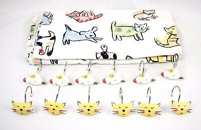 Jenny Faw Set of 6 Cat and 6 Dog Shower Curtain Rings and Fabric Shower Curtian