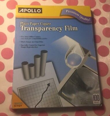 Apollo Plain Paper Copier Transparency Film Non-striped Black Image 100 Sheets