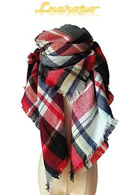 Women Scarf Blanket Warm Pashmina Shawl Wrap Fashion Soft Tartan Plaid Oversized