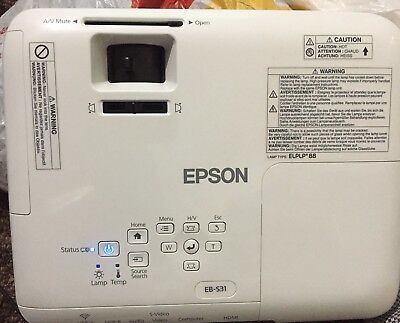 Epson EB-S31 Portable Projector (SVGA, 3LCD, 15000:1 Contrast,3200) used