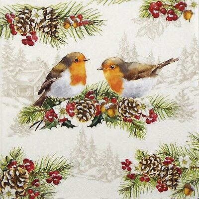 4x Paper Napkins - Winter Robins- for Party, Decoupage Craft