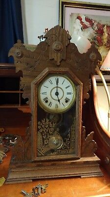 Antique-Seth Thomas Wood Clock numbered #298A Works Perfectly With Key June 1914