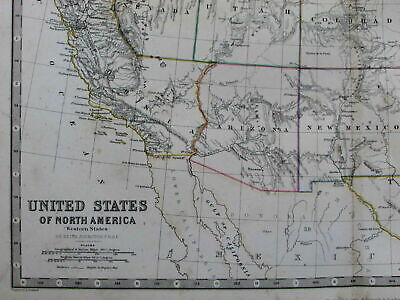United States elongated California Las Vegas in California 1868 old Johnston map