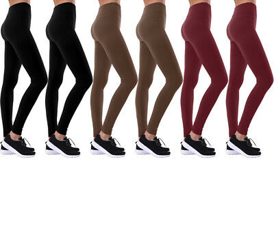 Winter Warmth Women's High-Waisted Solid Fleece Leggings (6 Pack)