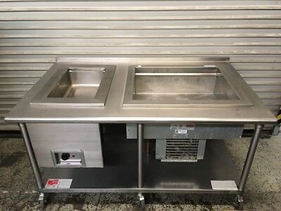 "60"" Table with Drop In Hot and Cold Pans Delfield N8130B & N8717D #7072 NSF Food"