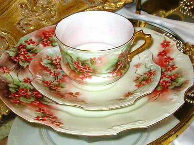 LIMOGES HAND PAINTED PRIMULA FLORAL TEA CUP & SAUCER TRIO Artist Signed x 1902
