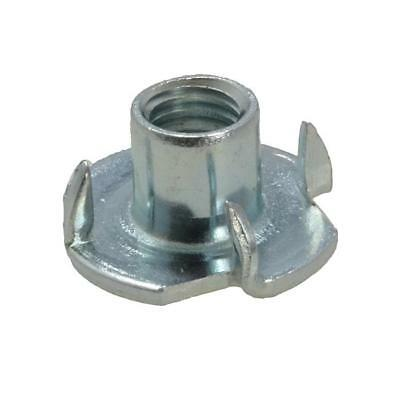 Tee Nut 4 Prong M6 (6mm) Metric Coarse T Nut Blind Timber Wood Zinc Plated