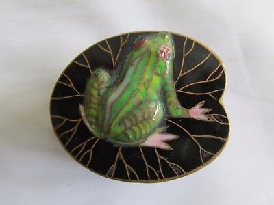 Antique Vintage ? Cloisonne Frog on Lily Pad Small Lidded Box Lovely !!