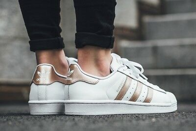 ADIDAS ORIGINALS SUPERSTAR WHITE & ROSE GOLD #BA1869 Women's Athletic Sneakers