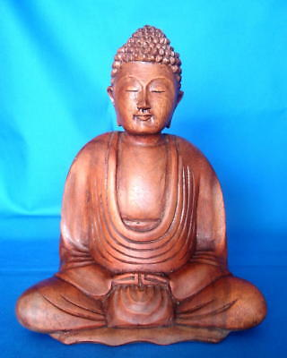 HAND CARVED WOODEN OAK BUDDHA STATUE 200 mm  Wicca Witch Pagan Goth