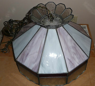 Vintage Slag Glass Stained Glass Hanging Lamp Light Mauve With Chain & Bracket