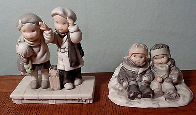 "2-Enesco Porcelain Figurines ""Thursday's Child"" and ""Snow Where Else I'd Be"""