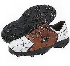 Oakley BOW TYE 2 Wide White Saddle Brown 11 W US Mens Golf Casual Leather Shoes