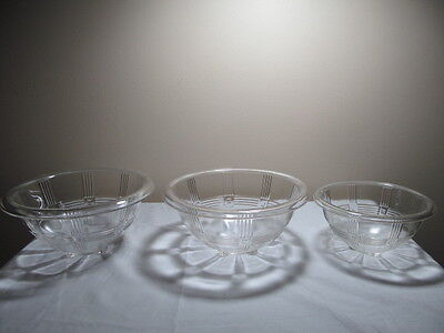 Crystal Depression Glass Criss Cross Mixing Bowls