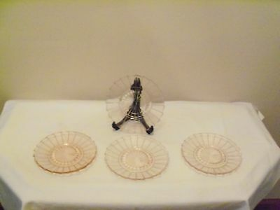 Pink Depression Glass Sierra Pinwhell Four Saucers