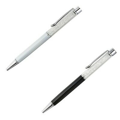 2pc Premium Pen Set Made with Swarovski Crystals -Wht & Blk - Collectable Pen