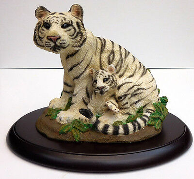 Living Stone White Tiger With Cub, On Base,  Item 69510