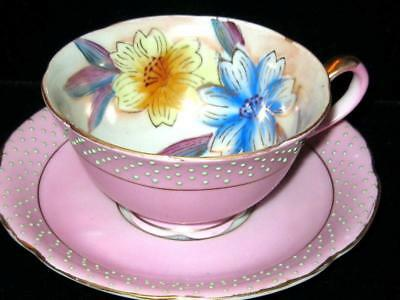 Occupied Japan Pink Raised Beaded Tea Cup And Saucer Hand Painted Floral