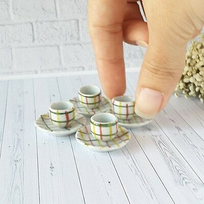 2Pcs Ceramic Hand Painted Plates Dish Cup Dollhouse Miniature Food Supply Barbie