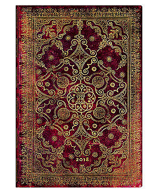 Diary 2018 Paperblanks Carmine Midi Vertical Week To View 124x172mm