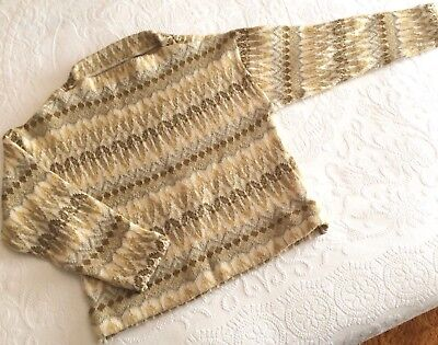 Vtg 1960s Swedish Nordic 100% Wool Pullover Sweater*Gold,White,Beige,Brown*M