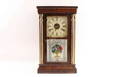Old Antique 1800s Weight Driven Wooden Clock Winsted Connecticut Maker