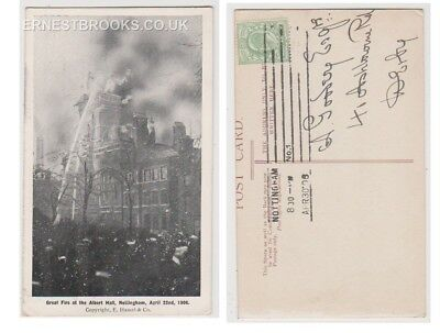 Early Postcard, Nottinghamshire, Nottingham, Great Fire  At The Albert Hall,1906