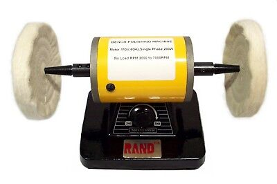 Yellow Variable Speed Bench Top Polishing Buffing Machine Corded-Electric Power