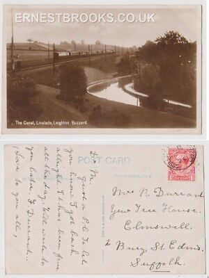 Early Postcard, Bedfordshire, Leighton Buzzard, Linslade Canal.Train Passing, RP