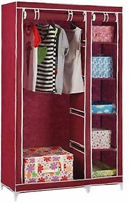 Vinsani Double Canvas Red Wardrobe With Hanging Rail Shelves Storage Furniture