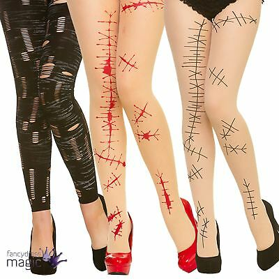 Halloween Zombie Broken Doll Bloody Tights Fancy Dress Costume Accessory Horror