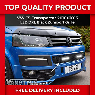 Vw T5 Transporter Black Front Mesh Grille With Led Drl Day Time Running Lights
