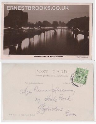 Early Postcard, Bedfordshire, Bedford, Illuminations On River Bedford,1914,RP