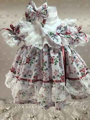 """Hannahs Boutique 0-3 Month Frilly Floral Dress & Headband Or Reborn Doll 20-24"""""""