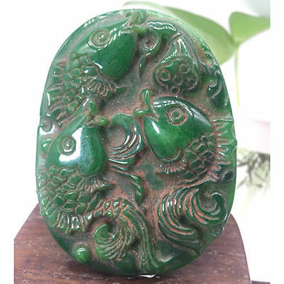 Ancient Chinese hand-carved exquisite jade blessing fish