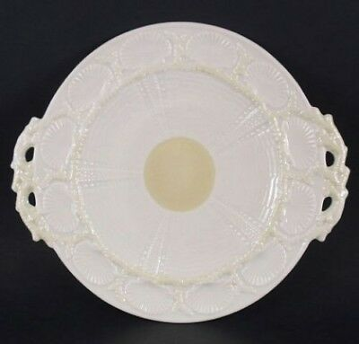 Belleek New Shell Yellow Handled Cake Plate Mint