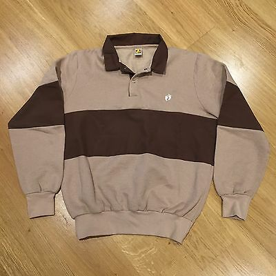 Hang Ten Vintage 80s Gold Label Polo Rugby Sweater Jumper Brown Tan Youth 18