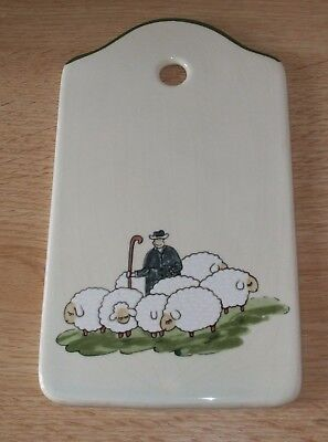 Zeller Keramik wall notepad or chopping plaque in the shepherd and sheep design